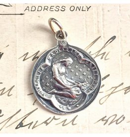 Rosa Mystica St Mary Magdalen Contemplative Medal – Patron Of Pharmacists, Repentant Sinners and Catholic Converts – Sterling Silver Antique Replica