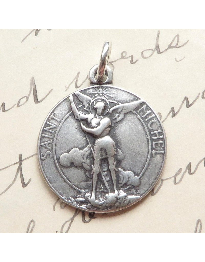 Rosa Mystica St Michael The Archangel Medal – Heavenly Protector – Sterling Silver Antique Replica