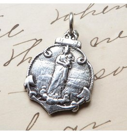 Rosa Mystica Stella Maris – Virgin Mary Star Of The Sea Medal – Sterling Silver Antique Replica