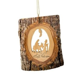 "EarthWood 4"" Bark Ornament with Flight to Egypt"