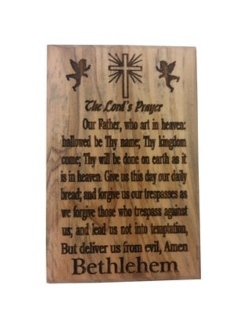 "EarthWood 2.25"" x 1.5"" Olive Wood Lord's Prayer Magnet"
