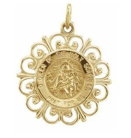 Stuller 14K Yellow / 18 mm / Polished / Round Scapular Medal