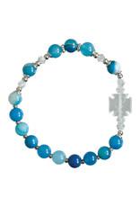 Sine Cera 6mm Children's Blue Gemstone Stretch Rosary Bracelet