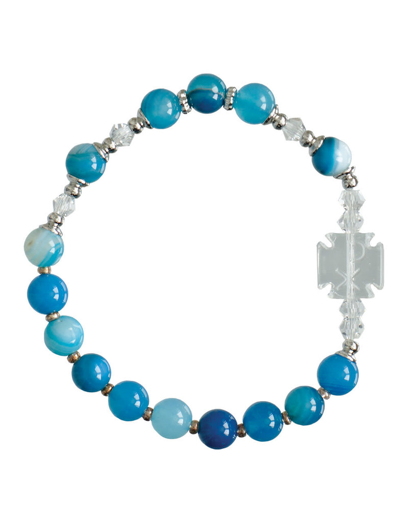 Sine Cera 6mm Children's Blue Gemstone Stretch Rosary Bracelet