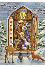 Vermont Christmas Company Box of 15 Stained Glass Window Nativity with Animals Christmas Cards