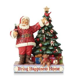 Jim Shore Bring Happiness Home Coca Cola Santa and Tree Figurine