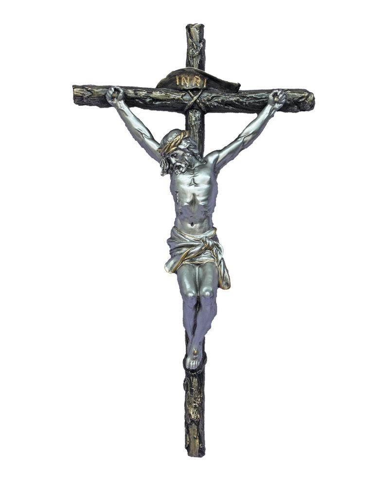 """Goldscheider of Vienna 16"""" Two-Tone Cold Cast Bronze Crucifix"""