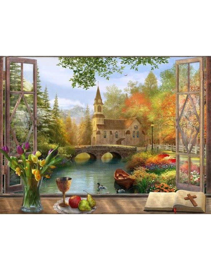 Vermont Christmas Company Autumn Church 550 Piece Jigsaw Puzzle