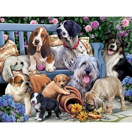 Vermont Christmas Company Jigsaw Puzzle-Dogs On A Bench (1000 Pieces)