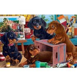 Vermont Christmas Company Jigsaw Puzzle-Studio Puppies (100 Pieces)