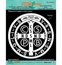 """Catholic to the Max 6"""" White Benedictine Medal Decal"""