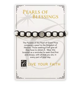 Creed Pearls of Blessings Saint Benedict Bracelet - Black/Silver