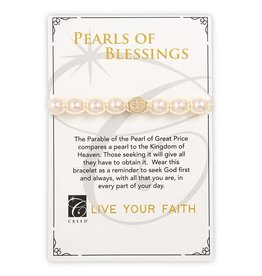 Creed Pearls of Blessings Saint Benedict Bracelet - Ivory/Gold