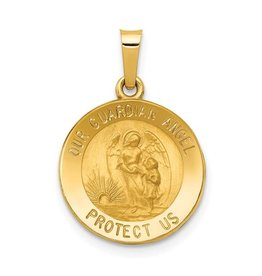 14k Polished and Satin Our Guardian Angel Medal Pendant