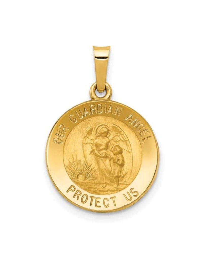 Quality Gold Inc. 14k Polished and Satin Our Guardian Angel Medal Pendant