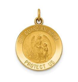 14k Guardian Angel Medal Charm