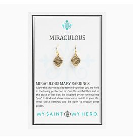 My Saint My Hero Miraculous Mary Earrings-Gold