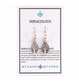 My Saint My Hero Miraculous Mary Pearl Earrings