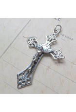 Rosa Mystica Crucifix with Central Radiant Heart – Sterling Silver Antique Replica