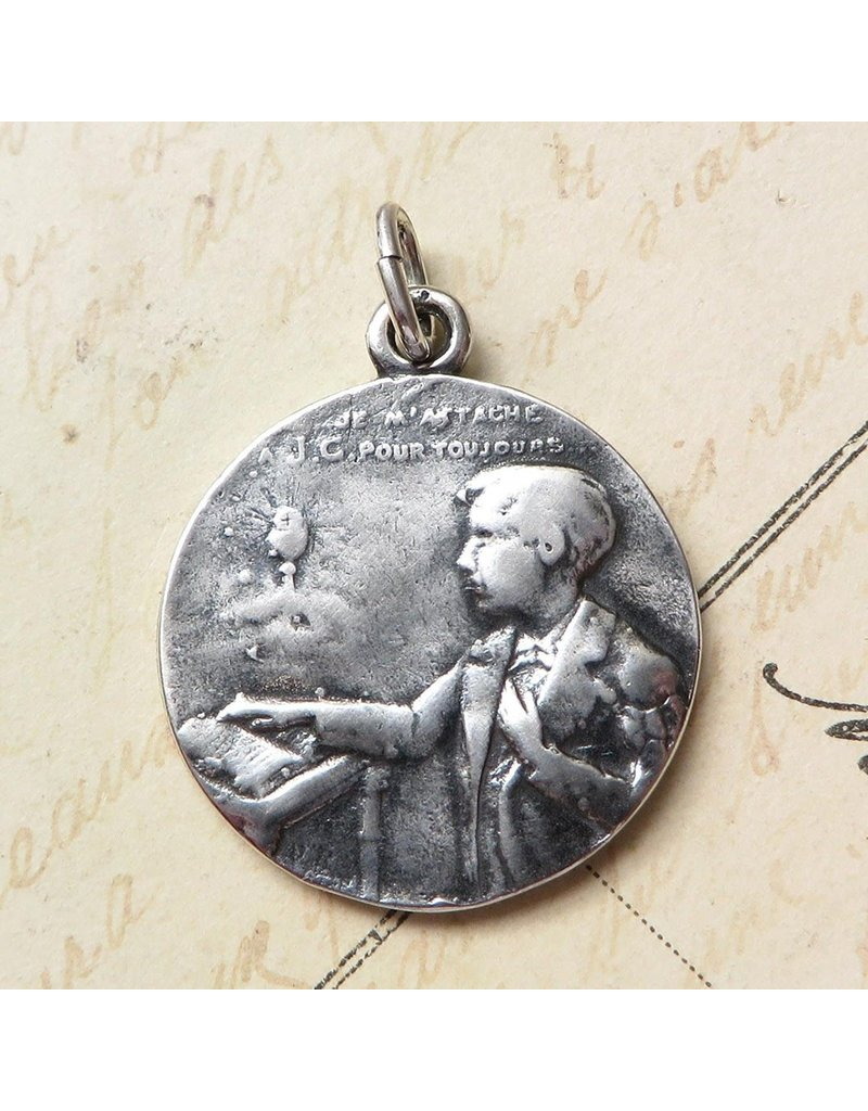 Rosa Mystica First Holy Communion Boy's Medal – Sterling Silver Antique Replica