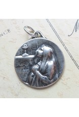 Rosa Mystica First Holy Communion Girl's Medal – Sterling Silver Antique Replica