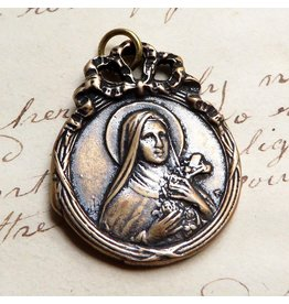 Rosa Mystica St Therese Of Lisieux Medal – Patron of Missionaries and People Needing Patience – Bronze Antique Replica