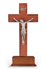 "WJ Hirten 10"" Standing Walnut Wood Crucifix with Pewter Corpus"