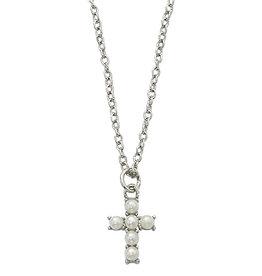 "McVan 16"" Pearl Cross Necklace"