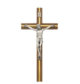 """McVan 10"""" Walnut and Gold Crucifix with Silver Corpus"""