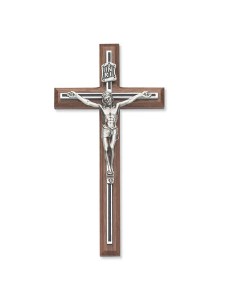 "McVan 8"" Walnut Stain Crucifix with Black Overlay"