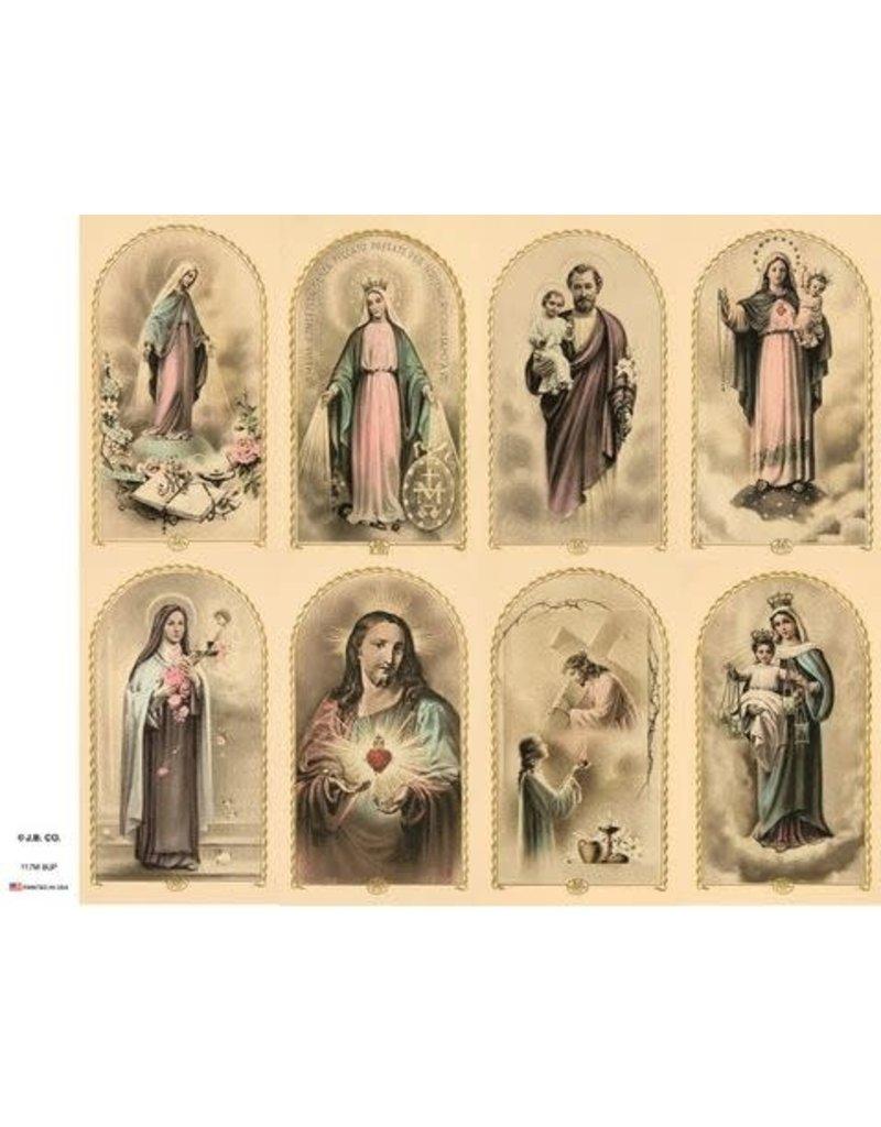 John Brandi Paper Vintage Prayer Cards (Sheet of 8)
