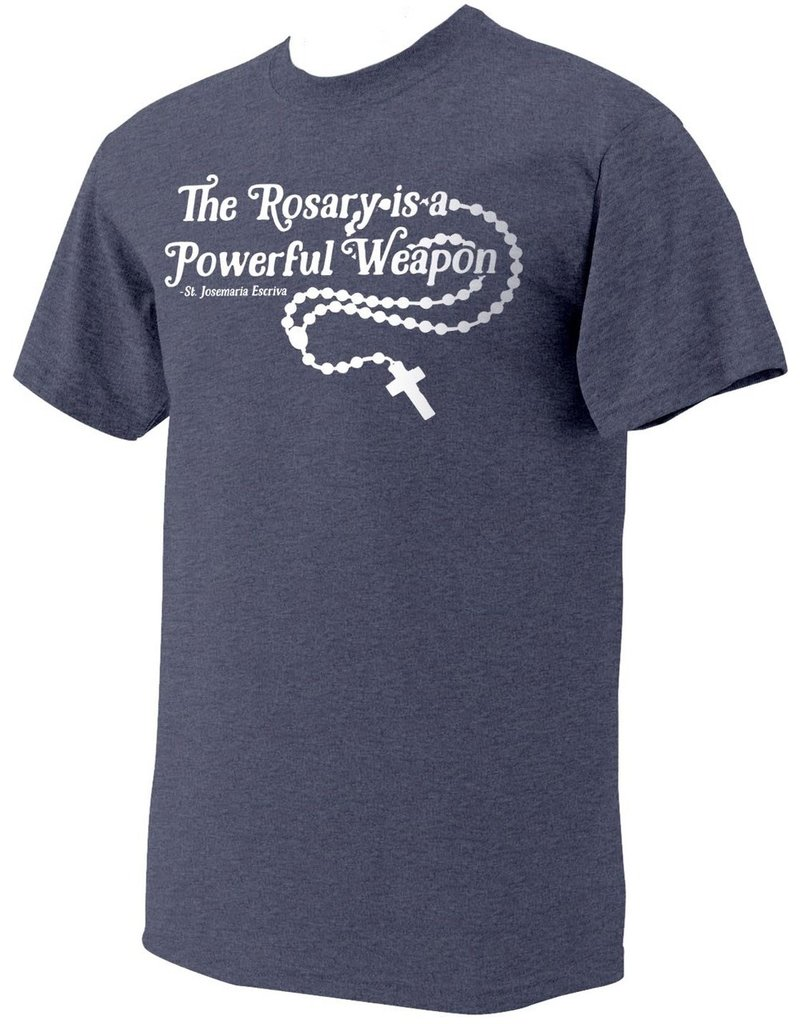 """Nelsons Fine Art and Gifts """"The Rosary"""" St. Josemaria Escriva Heather Navy T-Shirt Large"""