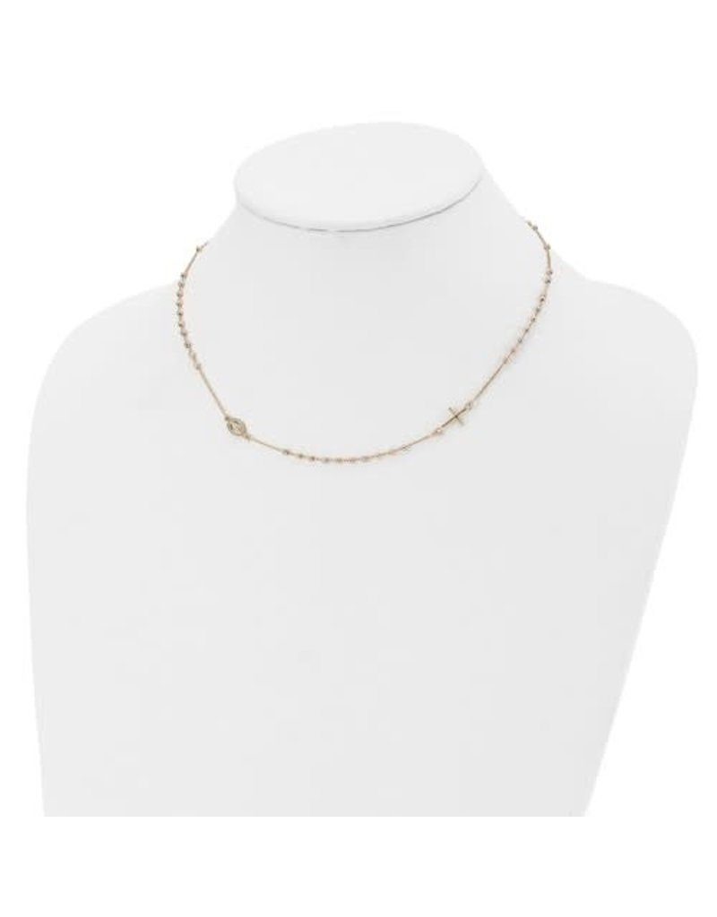 Leslie's 14K Tri-color Sideways Cross Beaded Rosary Style Necklace