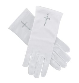 Christian Brands First Communion Satin Gloves w/ Pearl Cross