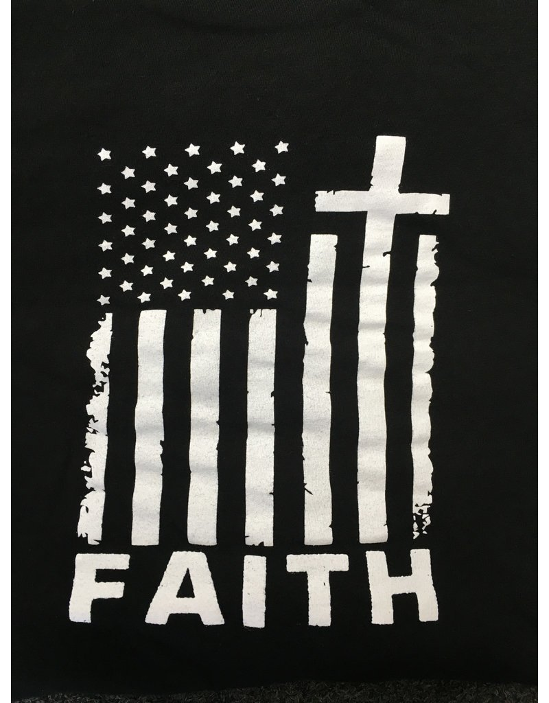 Queen of Angels Faith American Flag T-Shirt L