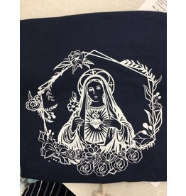 Queen of Angels Immaculate Heart of Mary T-Shirt Navy M