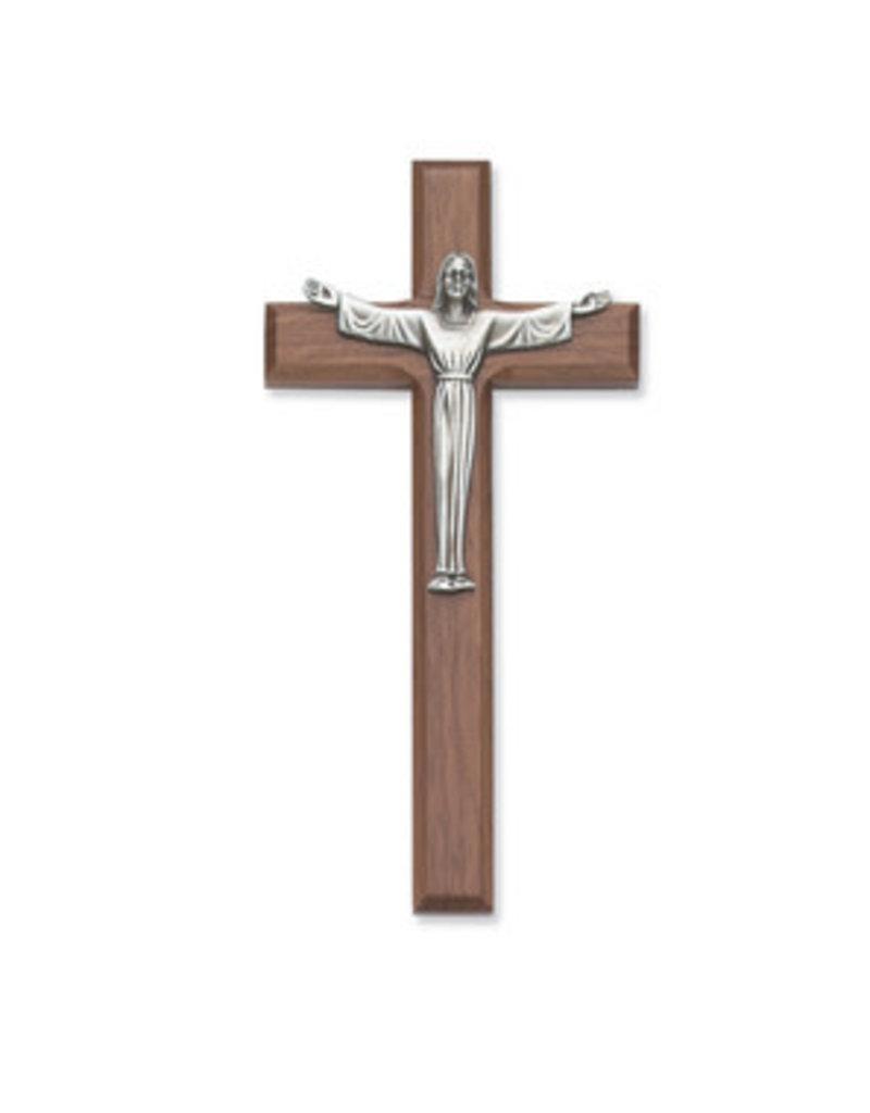 """McVan 7"""" Walnut Stain Risen Crucifix"""