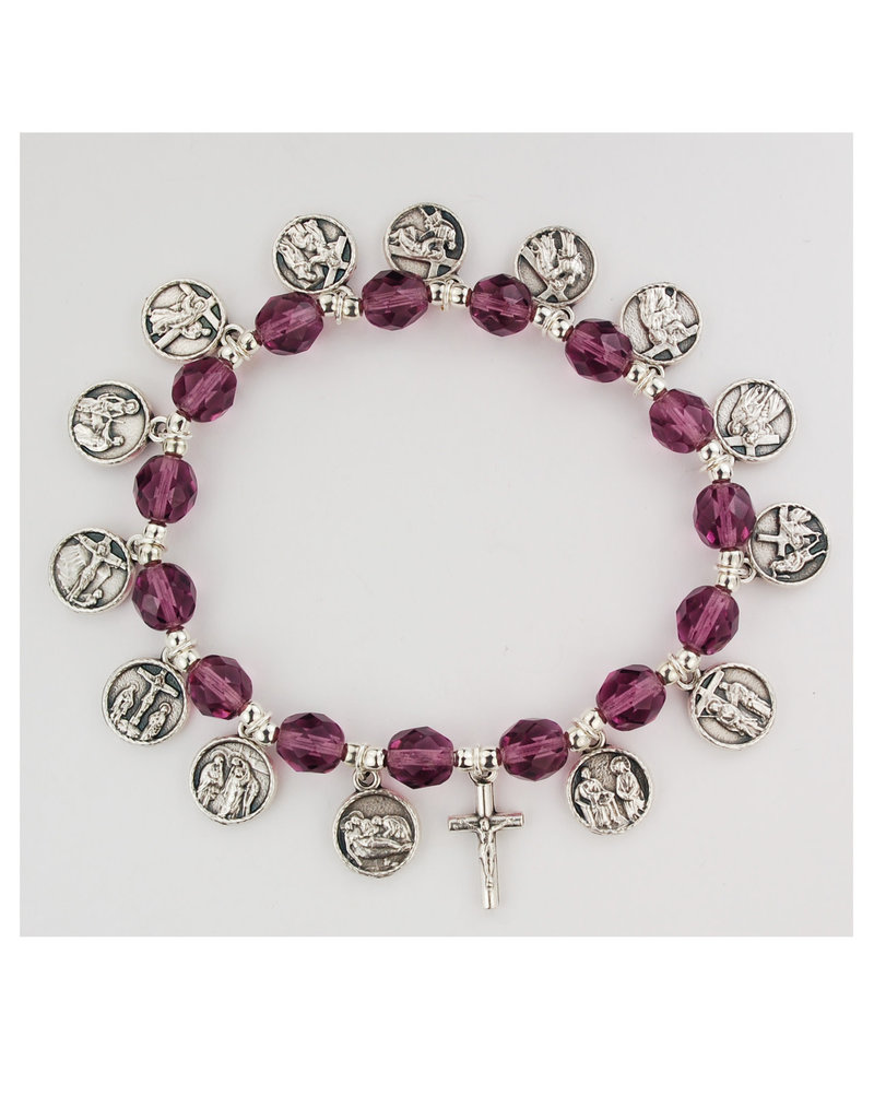 McVan 7.5in Purple Stations of the Cross Bracelet Boxed - 7.5in 8mm Purple glass beads with silver oxidized metals, boxed