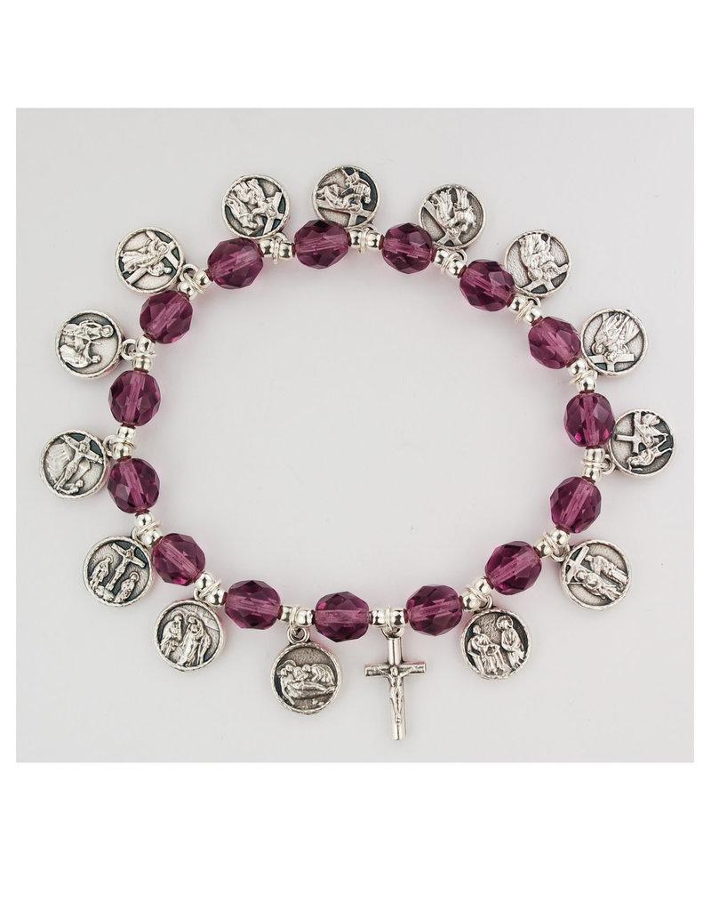 McVan 8mm Purple Crystal Stations of the Cross Bracelet