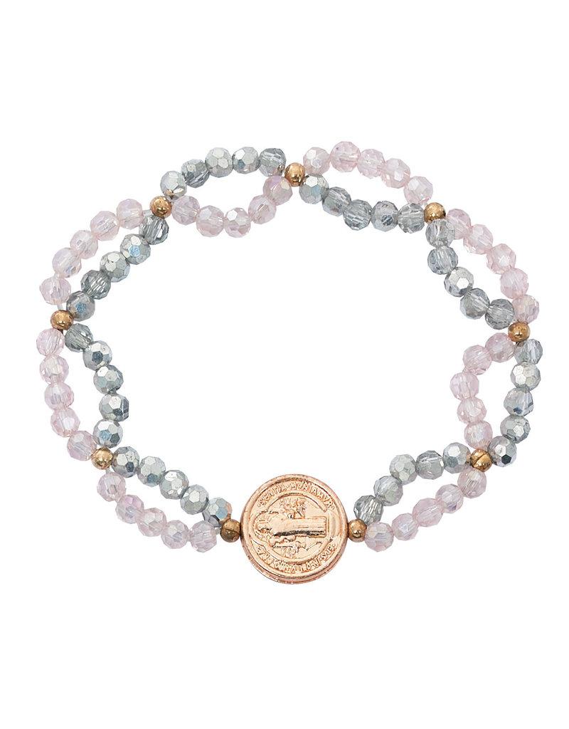 McVan Crystal and Pink St. Benedict Stretch Bracelet