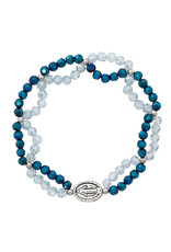 McVan Crystal and Blue Miraculous Stretch Bracelet