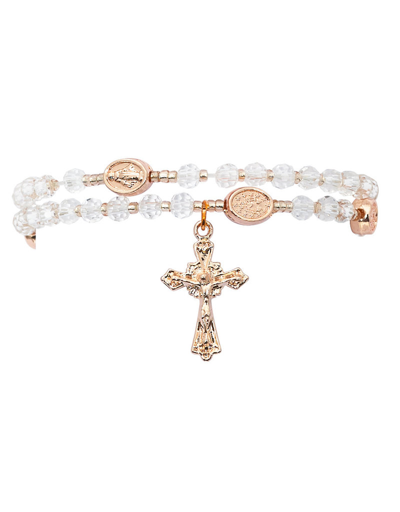McVan Copper and Crystal Twistable Miraculous Rosary Bracelet
