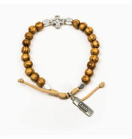 My Saint My Hero Rooted in Faith Olive Wood Bracelet