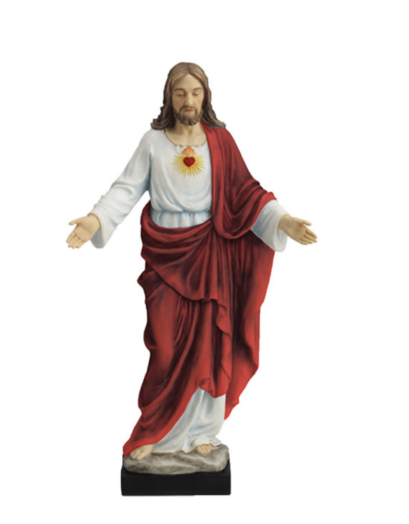 """Goldscheider of Vienna Sacred Heart of Jesus, Fully Hand-Painted Color, 10"""" Veronese Collection"""