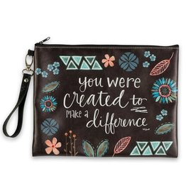 BrownlowGift Cosmetic Bag- You Were Created to Make a Difference (7 x 10.5 x 4)