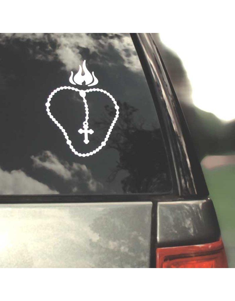 CatholiCar Flaming Heart Rosary Decal