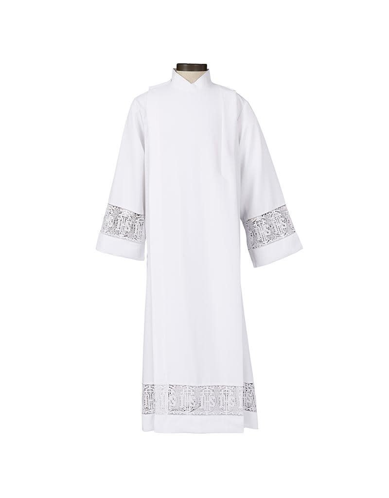 Christian Brands Latin Cross and IHS Lace Front Wrap Alb (Small)