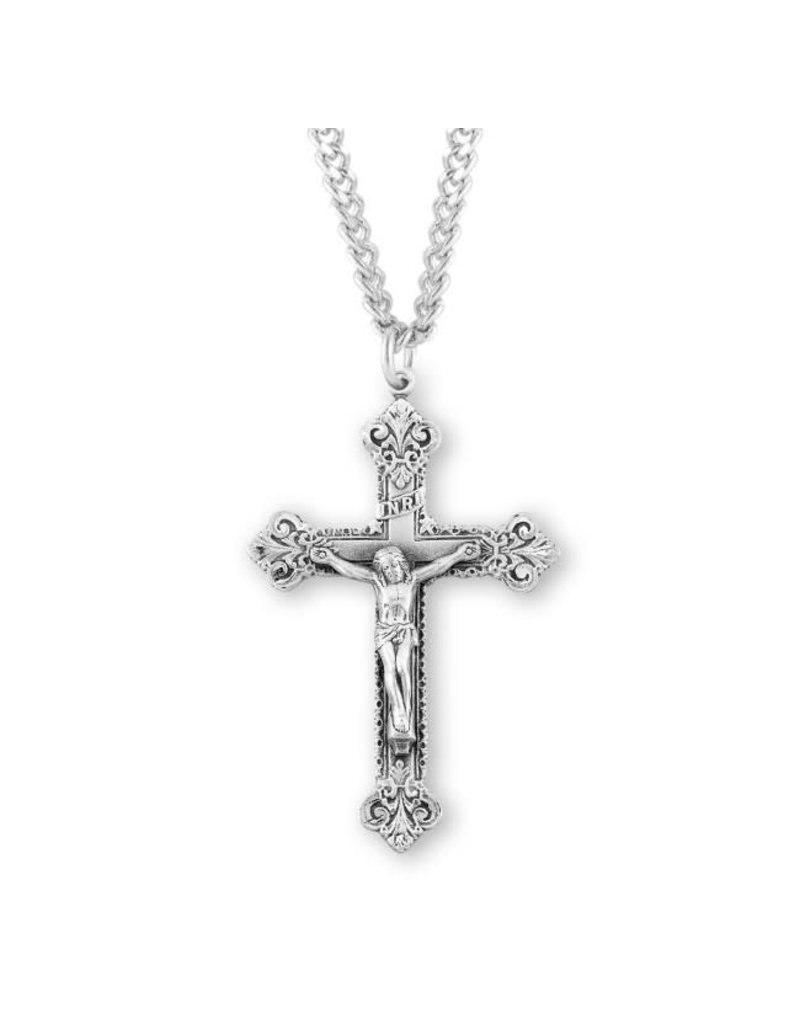 HMH Religious Scroll Design Sterling Silver Crucifix