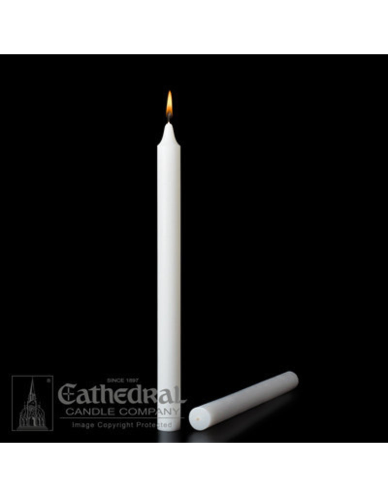 """Cathedral Candle Co. 7/8"""" x 12"""" 51% Beeswax Short 4s Taper (Plain Ends, Box of 24)"""