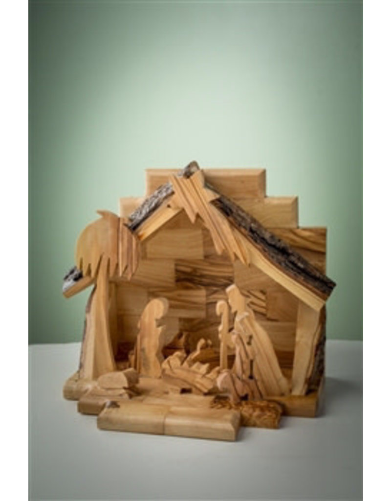 """EarthWood Nativity-Olive Wood-One Piece With Silhouette Figures (6"""" x 7"""")"""